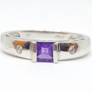 10k White Gold Genuine Amethyst & Diamond Ring